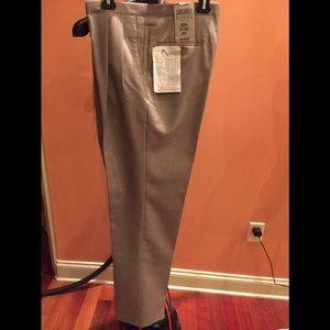 NWT SANSABELT 4 SEASONS WOOL BLEND FLAT FRONT DRESS PANTS TAN 54 REG UNHEMMED